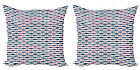 Ambesonne Oriental Cushion Cover Set of 2 for Couch and Bed in 4 Sizes