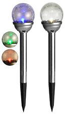 2er Set Solar Kugel Leuchte LED Garten Leuchte Glas-Kugel Kugellampe Farbwechsel