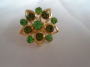 Small Green Flower Brooch With Green Stone's
