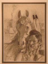 Vintage Early California framed HERNANDO VILLA Native Amer horse drawing