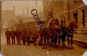 1910 Real Photo Horse Drawn Ladder Fire Wagon Syracuse New York NY RP RPPC D145