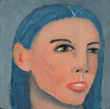 Oil Portrait Painting Outsider Art Blue Hair Woman Art Katie Jeanne Wood