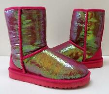 New Ugg Classic Short Sparkles Roseclay Pink Sequined Shearling Women's Boots