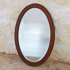 Edwardian Mahogany Beaded Edge Oval Wall Mirror - C1910 (Antique)
