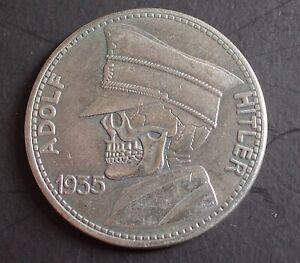WW2 GERMAN COIN 5 REICHSMARK 1935 HITLER SKULL HOBO STYLE