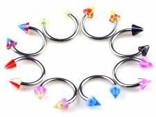 10PCS 16G ASSORTED MIX ACRYLIC SPIKE CONE HORSESHOE BARBELL NOSE SEPTUM EAR RING