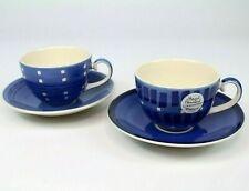 ~~2X WHITTARD OF CHELSEA HAND PAINTED TEA CUPS + SAUCERS BLUE 250ml BRAND NEW