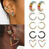 Women Heart Drop Ear Cuff Round Clip Stud Earrings Wedding Statement Jewelry