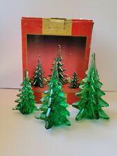 1993 Set of 3 glass Christmas trees 6, 5, 4 inch w original box