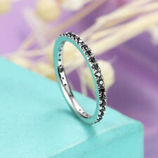 Band Ring 14k White Gold Over 0.35 Tcw Round Cut Black Diamond Wedding