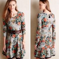 Saturday Sunday Anthropologie Gray Floral Print Terry Fit and Flare Dress Size S