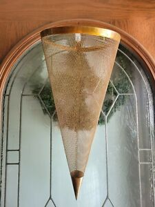 Copper Metal Mesh Wire Hanging Cone Basket Wall Pocket Planter