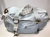 "Liz Claiborne Vintage 18"" Soft Carry On Travel Duffel Bag Light Denim Duffle"