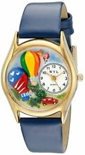 NWOT Whimsical Watches Kids' C1010018 Gold Hot Air Balloons Blue Leather Watch