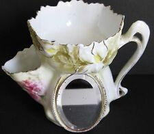 Antique RS Prussia Porcelain Left Handed Shaving Mug Mirror Scuttle Rare Florals