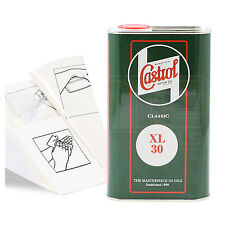 Engine Oil Top Up 1 LITRE Castrol Classic XL30 SAE30 1L +Gloves,Wipes,Funnel