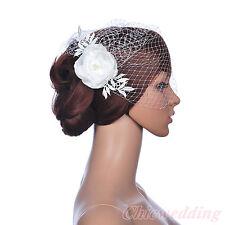 White Bridal Wedding Birdcage Veil Floral Fan Fascinator Prom Pearl Blusher Net