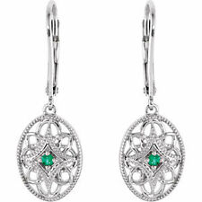 Sterling Silver and Emerald Filigree Fashion Leverback Earrings FREE Shipping