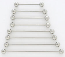 "10) 14g Steel 1.5"" Industrial Barbells 5mm Ball 1-1/2"" 38mm Long Bar Piercings"