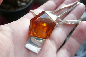 Vintage Modernist Amber and Silver Pendant with Silver Chain