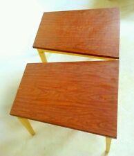2 VINTAGE WEDGE TRIANGLE WOOD END TABLE ATOMIC SPUTNIK NIGHT STAND DANISH MCM