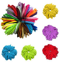 KIDS GIRLS 50PCS/LOT THICK ENDLESS SNAG FREE HAIR ELASTICS BOBBLES BANDS HOOPS