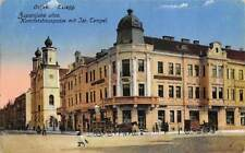 OSIJEK CROATIA ~ SYNAGOGUE & STREET VIEW, PEOPLE, VEHICLES, JUDAICA ~ used 1921