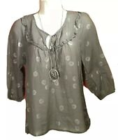 Women's Gray Boho Peasant Tunic Blouse OLD NAVY Sz S W/Necklace WORKWEAR Top EUC