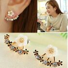 Pearl Flower Stud Silver Sterling Clip Elegant Rhinestone Ear Crystal Earrings