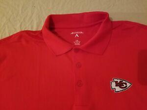 Mens Antigua Kansas City Chiefs Polo Shirt 2XL XXL Red Athletic