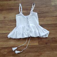 bebe Women's Small White Open Lace Front Spaghetti Strap Top