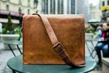 Handmade Leather Vintage Goat Messenger Laptop Brown Briefcase Shoulder Bag