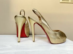 AUTH CHRISTIAN LOUBOUTIN GOLD LEATHER SHOES NO PRIVE 120mm Sz 38