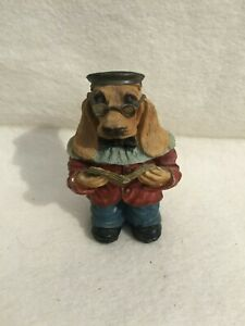 Vintage Dapper Human Dog Antique Clothes Resin Figurine Reading Glasses Teacher