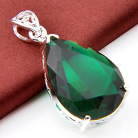 """2015 New Arrival Fashion Jewelry Green Topaz Gems Silver Necklace Pendant 2.5"""""""