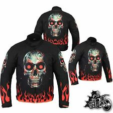 Motorbike Motorcycle Cordura Fabric Jacket Waterproof Skull Flame Fire Design