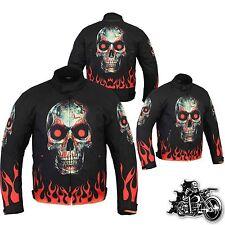 Motorbike Motorcycle Cordura Fabric Jacket Waterproof Skull Flame Fire Design