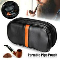 Portable Leather Tobacco Smoking Pipe Case/Bag Holds 2 Pipes + Tobacco Pouch