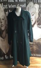 """Damas Abrigo Trench De Lana Cachemir Vintage Verde Grande UK 14/16 C 40-42"""""""