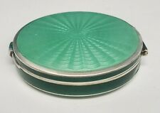 Antique Sterling Silver 2 Sided Green Guilloche Enamel Compact Powder Box Mirror