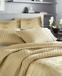 Donna Karan FULL/QUEEN Quilt Casual Luxe Cotton Quilted Cotton GOLD 166