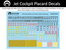 airscale Modern Jet Cockpit Placard & Warning decals - 1/48 scale AS48 DAN