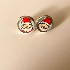 Father Christmas Santa Claus Glass Cabochon Silver Stud Earrings 12mm