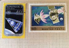 Hungary 1974/75  x2 used space Sputnik + Mars Exploration postage stamps
