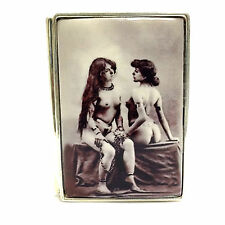 Huge Enamel 1900's Style Erotic Nudes Pill Box 925 Sterling Silver