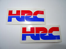 2 x HRC (HONDA RACING) Cut Text Vinyl DECALS - STICKERS - BADGES - RED & BLUE