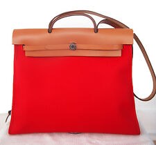 NEW! Authentic HERMES Herbag Zip Canvas Rouge Tomato RED 39cm PM Kelly Lock bag