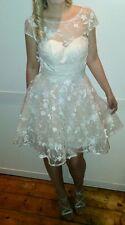 chi chi london dress, asos, ball, prom, lace, mini, floral, white, races size 8