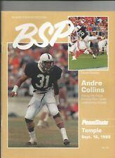 1989 PENN STATE VS TEMPLE NCAA FOOTBALL PROGRAM