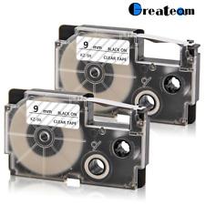 2PK Compatible for Casio XR-9X 9mm Label Tape KL430 Laminate KL-120 KL-60 KL-100